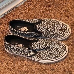 Vans Shoes - Vans black/white leopard slip on size 8.5 women's